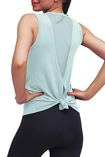 Mippo Workout Clothes for Women Sexy Open Back Yoga Tops Mesh Tie Back Muscle Tank Workout Shirts Sleeveless Cute Fitness Active Tank Tops Comfort Sports Gym Clothes Fashion 2020 Gray Green S