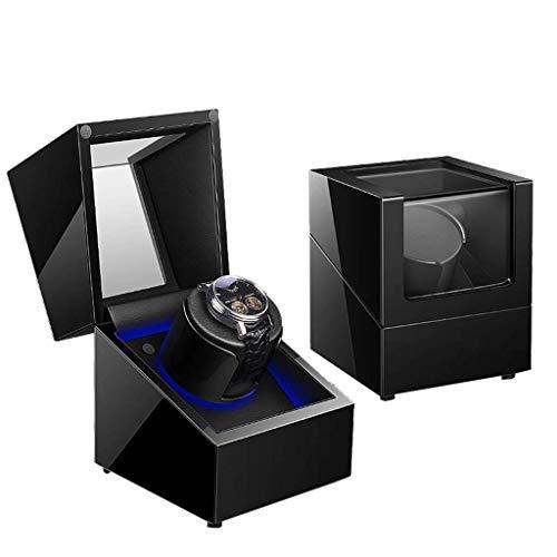 Sunmong Caja de enrollador de Reloj Individual Caja de Almacenamiento de Reloj de Motor de 5 Modos silencioso LED automático, Negro (Color: B)