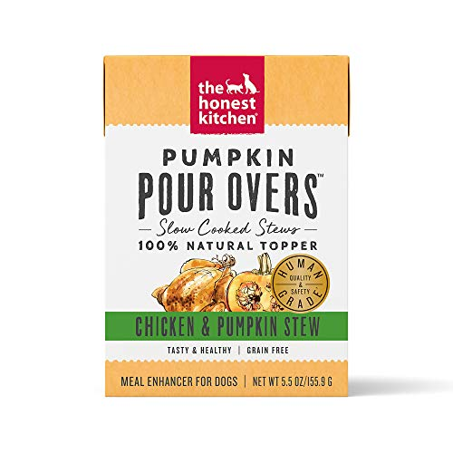 The Honest Kitchen Pumpkin Pour OVERS Wet Toppers for Dogs (12 pack), 5.5oz - Chicken & Pumpkin Stew