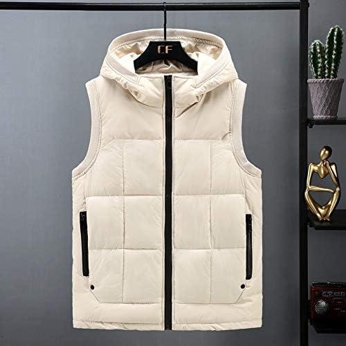 LYLY Vest Women Men Vest Autumn Winter Fashion Down Cotton Men Vest Male Teenagers Cultivating Cotton Vest Waistcoat Jacket Vest Warm (Color : Beige, Size : 5XL)