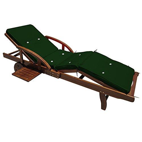 Detex® Coussin pour transat Chaise Longue de Jardin Vert 195cm Rembourré Matelas