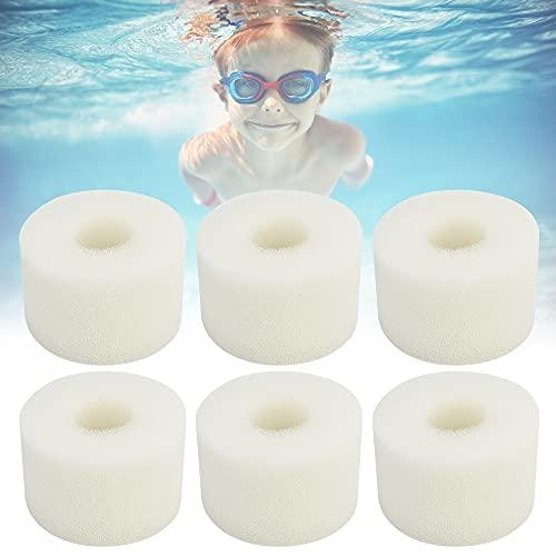 VCRANONR 6 Stück Schwimmbad Filter Weiß Filterschwamm Wiederverwendbare Schwimmbeckenfilter Waschbar Schaumstofffilter Filterschwamm Schaumstoff Swimming Pool Filter Sponge für Whirlpool, Spa