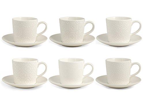 H&H Silhouette Set 6 Tazze Tè con piatto, Stoneware, Bianco, 200 ml