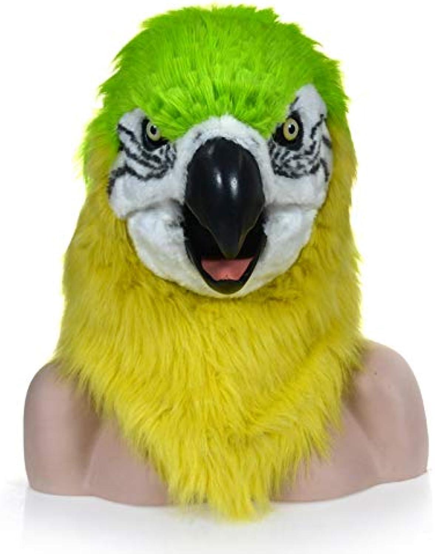 ZUAN Mode Mund bewegen Pelz Papagei Kopf Kostüm Party Papagei Kopfbedeckung für Halloween Mode Funktion pelzigen Maske grün Papagei Tierkopf Maske (Farbe   Grün, Größe   25  25)