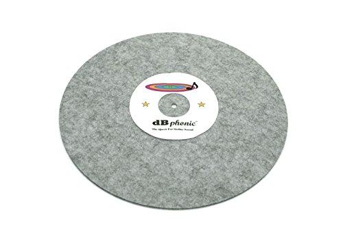 DB Phonics Turntable Stereo Phonograph Platter Slip Mat Anti Static Vinyl Record Player Vibration Dampening Felt Gray 295mm 3mm Thick