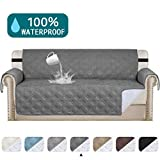 Turquoize 100% Waterproof Couch Cover Quilted Sofa Protector Couch Covers for 3 Cushion Couch Waterproof Gray Sofa Cover for Dogs Quilted Furniture Covers Non Slip Cover for Pets (Sofa 68', Gray)