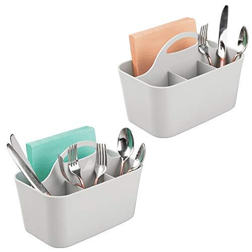 mDesign 2er-Set Besteckkorb aus Kunststoff – ideal zur Besteckaufbewahrung – mit je 4 Fächern und integriertem Griff zum Transport – nützlicher Besteckkasten und Küchen Organizer – hellgrau