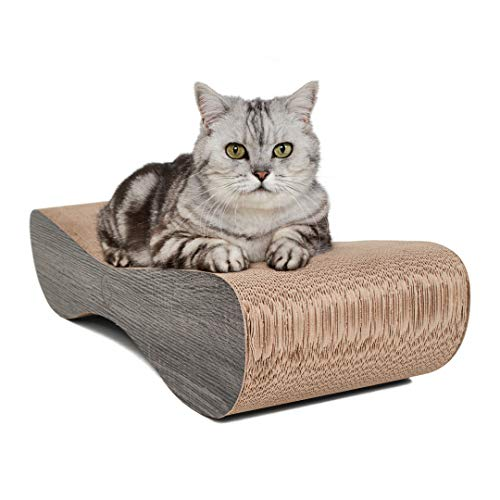 CanadianCat Company ® | Kratzkarton Satellite | 76 x 24 x 15 cm | Kratzmöbel, Kratzbrett | XL Kratzpappe +Katzenminze | dunkelgraue Holzoptik für Katzen