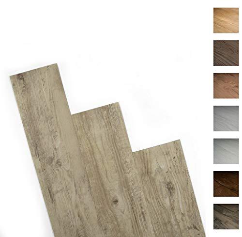 ANTEVIA- Lames de sol adhésives 5m2 | 15 COLORIS DISPONIBLES | PVC Revêtement adhésif (Beige clair vieilli - 5m2)