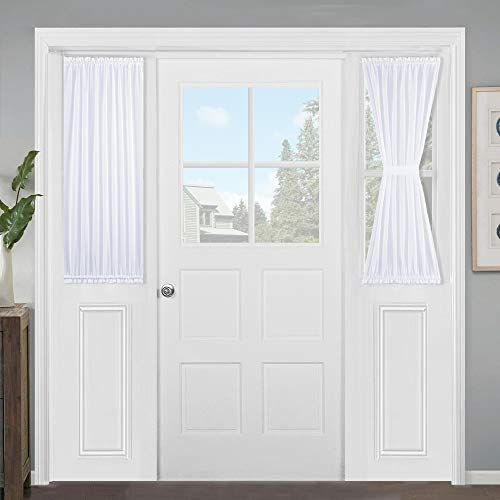 NICETOWN Door Window Curtain Panel, Linen Look Semi Sidelights Door Window Blinds for French Front Door, Backdoor, W30 x L40 inches, White Sheer Curtain, Sold Individually with 1 Free Tie Back