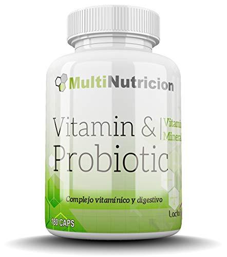 Vitamin + Probiotic LactoSpore | Complesso multivitaminico con minerali Agenti probiotici di ultima generazione e beta-carotene | Trattamento per 6 mesi | 180 capsule