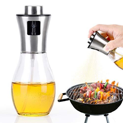 Olive Oil Sprayer for Cooking, 200ml, BBQ Cooking Spray Bottle, Glass Atomizer/Sprayer Mister Bottle for Grill Oil, Vinegar, Cooking Oil, Vegetable Oil, Sesame Oil, Canola Oil
