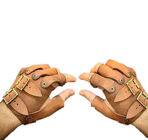 guanti medievali Guanti da uomo medievali vintage in pelle con mezze dita Guanti da cavaliere vichingo Guanti cosplay gotici