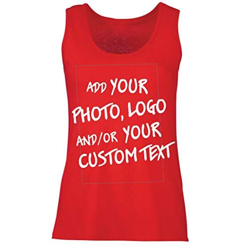 lepni.me Camisetas sin Mangas para Mujer Regalo Personalizado, Agregar Logotipo de la Compañía, Diseño Propio o Foto (Small Rojo Multicolor)