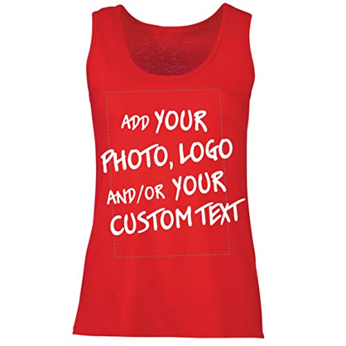 lepni.me Camisetas sin Mangas para Mujer Regalo Personalizado, Agregar Logotipo de la Compañía, Diseño Propio o Foto (X-Large Rojo Multicolor)