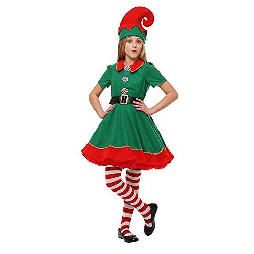Disfraz de elfa Adulto Disfraz de Navidad Elfo Traje Vestido de Fantasa Traje de Navidad, Fancy Dress Disfraz de Elfo Ayudante de Santa Claus, Rojo y Verde,180CM