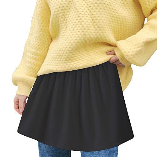 Lenfeshing Falda Multifunción con Dobladillo Falso Dobladillo en Capas Ajustable Falda Decorativa Minifalda Extensible de Camisa Blanco Negro para Suéteres,Sudaderas,Chaquetas,Abrigos