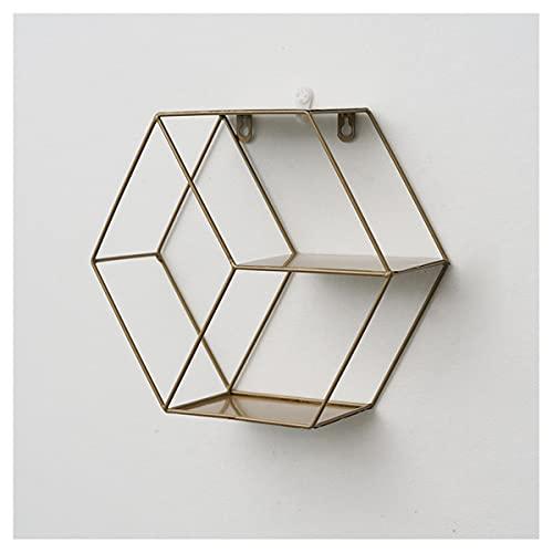 ZTBH Estantes de baño Rack de Almacenamiento de Pared, estantería de Pared Creativa Accesorios de baño Organizador de baño (Color : Hexagon Gold)