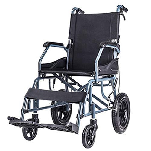 HEIFEN Leichter Rollstuhl, super starker Aluminiumlegierungsrahmen, Kleiner Trolley für ältere Menschen, tragbarer Reiseroller, Vollgummireifen, mit Handbremsen Black