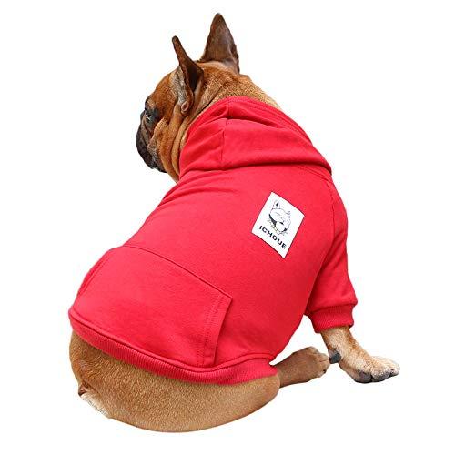 iChoue Pet Clothes Dog Hoodie Hooded Full-Zip Sweatshirt French Bulldog Frenchie Pug Corgi Puppy Cotton Winter Warm Coat Clothing - Dark Red/Size S