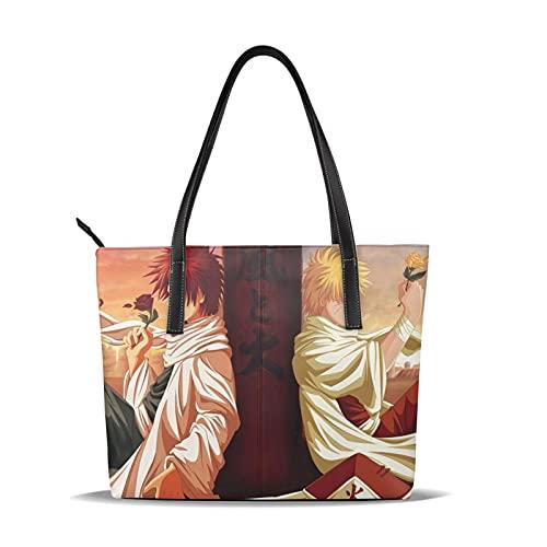 Naruto And Gaara Bolso de cuero fino impermeable de gran capacidad adecuado para el trabajo, viajes de negocios