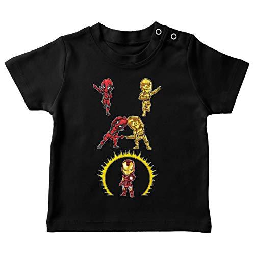 T-Shirt bébé Noir Parodie Star Wars - Iron Man - Deadpool, C-3PO et Iron Man - Cyber Fusion !! Yaaahaaa ! (T-Shirt de qualité Premium de Taille 12 Mois - imprimé en France)