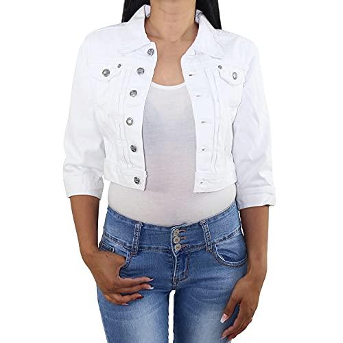 Sotala Chaqueta vaquera corta para mujer, tipo bolero, elástica, color azul vaquero y blanco Blanco 40