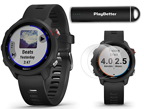 Buy Garmin Forerunner 245 Music (Black) Running GPS Watch | +Extra Silicone Bands (Red & White) and ...