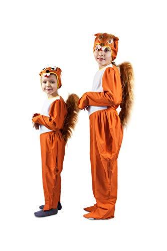 Otuli – Kinderkostüm Tierkostüm Eichhörnchen für Karneval Overall mit Mütze Unisex (104)