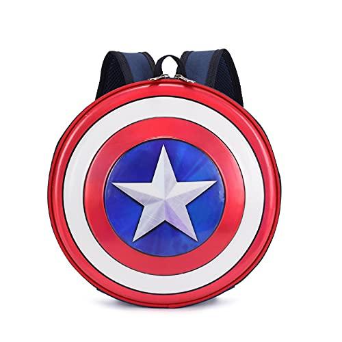 Yuan Ou Mochila infantil America's Shield Mochila Mochila de dibujos animados Mochila de viaje redonda Moda impermeable Paquete deportivo Azul
