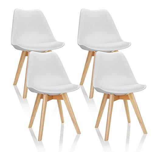 hjh OFFICE Zestaw 4 krzeseł do jadalni Scandi tworzywo sztuczne białe lite drewno bukowe, krzesło tapicerowane wzór retro 661009, jeden rozmiar