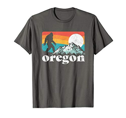 Oregon Pride Bigfoot Mountains 80's Vintage Nature Design T-Shirt