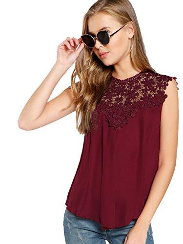 ROMWE Damen Elegant Ärmellos Chiffon Bluse mit Blumen Spitze Shirt Oberteil Bluse Burgundy M