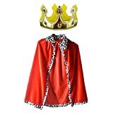 King Robe Halloween Costume Medieval Prince King Costume Cape(Cape&Crown) Red