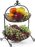 Manyao Snack-Dip tazón cuencos Vajilla doble metal cesta de frutas, multi-función de estar Cocina Placa de la fruta de frutas y legumbres secas Placa de la fruta Bocado de almacenamiento en rack for l