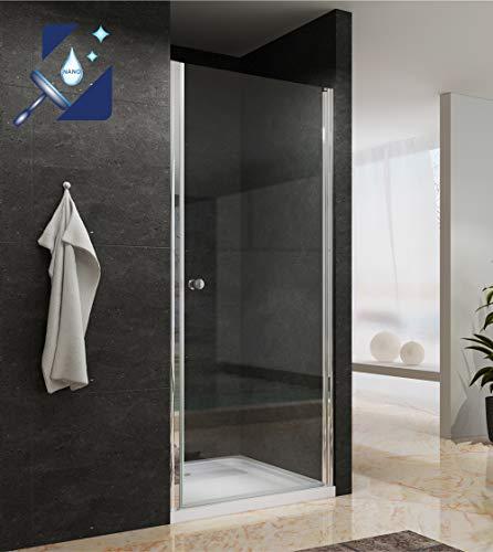AQUABATOS® 90 x 195 cm Duschtür Nischentür Duschabtrennung Pendeltür Drehtür Schwingtür Dusche Duschwand Glas Duschtrennwand aus 6mm ESG Echtglas mit Nano Beschichtung
