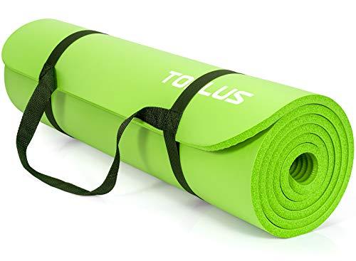 TOPLUS Verdickte Gymnastikmatte Phthalatfreie Yogamatte rutschfest und gelenkschonend Sportmatte für Yoga Pilates Sport mit praktischem Trageband Pilatesmatte 183 * 61 * 1 cm (Hellgruen)