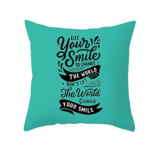 Ukilook Fundas de almohada de poliéster con tu sonrisa para cambiar el mundo. Fundas de almohada cuadradas, solo fundas de almohada, sin relleno para sala de estar, sofá o dormitorio, 50 x 50 cm.