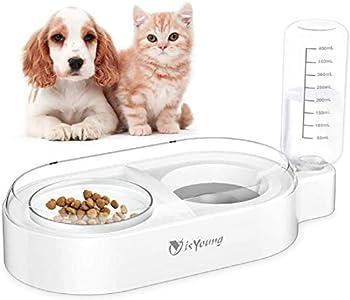 isYoung Cuencos Dobles para Perros y Gatos - Botella Dispensadora Automática de Agua para Gatos de 500 ml con Cuenco de Vidrio Extraíble para Mascotas Antideslizante Antideslizante - Blanco