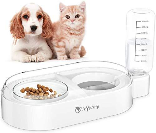 isYoung Ciotola per Gatti - Ciotola per Cani Gatti Alimentazione per Doppia Confezione in Acciaio Inossidabile con Doppio Alimentatore in Pet Cane Gatto Qualsiasi Piccolo Piatto Animale per Alimenti