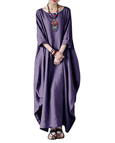 VONDA Kleider Damen Baumwolle Kleid Lang Leinenkleider Langarm Kaftan Abaya Maxikleider Oversize Mittelalter Kleid A-Lila XL