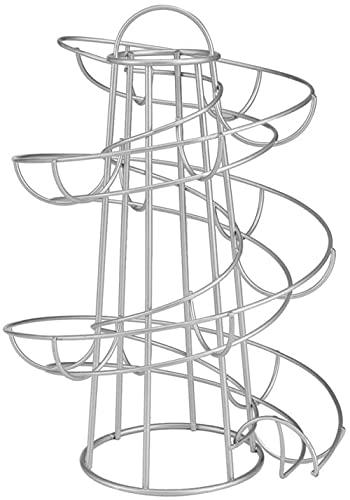Rejilla para Huevos En Espiral para Almacenamiento De Huevos, Dispensador En Espiral Moderno, Ahorro De Espacio, Artículos para El Hogar con Soporte De Hierro, hasta 20 Huevos-Silver