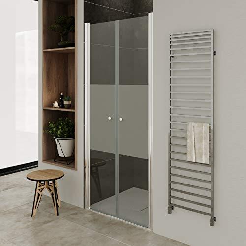 Moments of Glass Mampara de ducha 92-96 cm altura: 180 cm con puerta doble abatible 6mm Vidrio parcialmente satinado de seguridad - DTMF