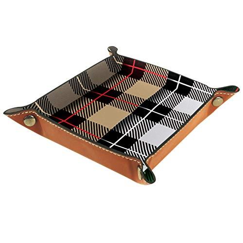 MUMIMI Plato cuadrado de cuero para mujeres y niñas, bandeja para joyas, diseño a cuadros, color marrón, negro, blanco, azul, regalo de cumpleaños