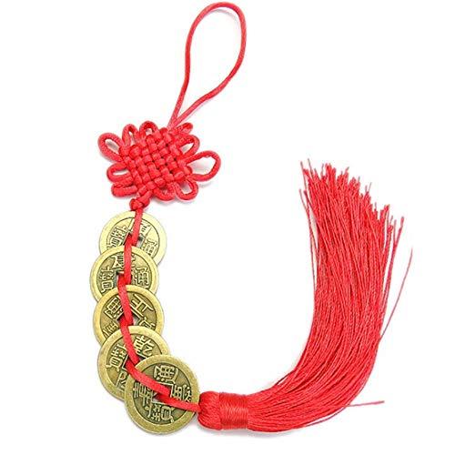 LJSLYJ Chinesischer Glücksmünzen-Charme auf verheißungsvollem Feng Shui der roten Schnur für Reichtum und Erfolgsgeschenk