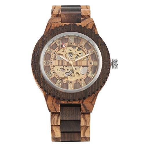 FMXKSW Holzuhr, Retro Holzuhr Gold Roman Literal Mechanical Uhren Herren Armreifuhr aus Holz, Zebra Wood