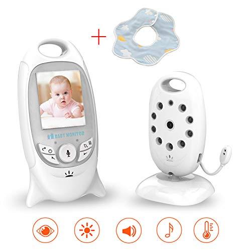 SmartBaby Babyphone mit Kamera,Wireless Video Baby Monitor,2 Zoll LCD Display 2.4GHz Temperatursensor Schlaflieder Nachtsicht Gegensprechfunktion Drehbare Kamera