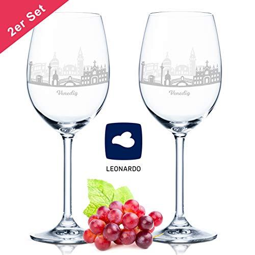 Leonardo Weinglas mit Gravur - Skyline Venedig im Set - Geschenk für Anspruchsvolle & Weingenießer - Souvenir Andenken Stadt Mitbringsel - Geburtstagsgeschenk Weihnachtsgeschenk