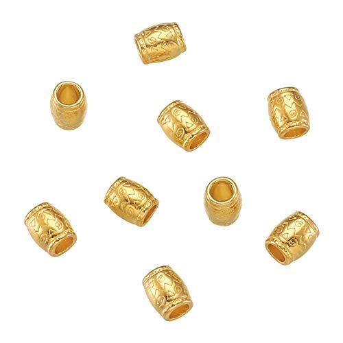 Craftdady 100 cuentas espaciadoras de tubo de aleación tibetana retro, columna dorada, 4mm agujero grande cuentas sueltas para manualidades, pulseras, collares, fabricación de joyas europeas