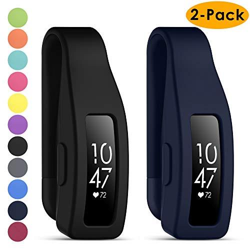 KIMILAR Cliphalter Kompatibel mit Fitbit Inspire & Inspire HR Clip(Nicht für Inspire 2),[2 Pack] Silikon Ersatz Clip Verschluss Gurt Gehäuseabdeckung Zubehör Schutz Hülle Cover Case, Schwarz + Navy